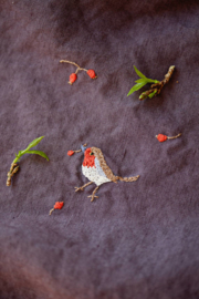 La Petite Alice - Handmade Linen Pouch With Embroidery Purple/Bird & Berries