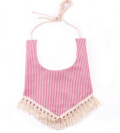 Scarf & Bib With Tassels  - Stripes