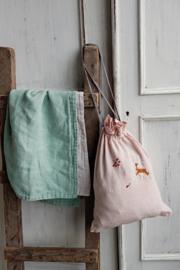 La Petite Alice - Handmade Linen Snuggle Blanket Mint/Ivory