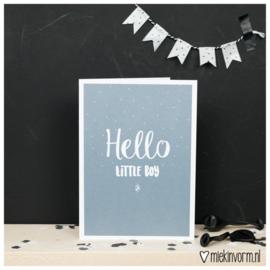 DUBBEL GEVOUWEN ANSICHTKAART- HELLO LITTLE BOY