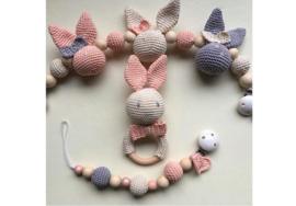 JA Baby Design - Handmade Crochet Bunny Set Pink/Purple/Beige