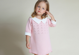 Knitted Romper/Dress With Collar in Pink