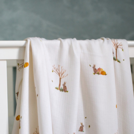 The Little Art Collection - Large Bamboo Swaddle Print: Rabbit