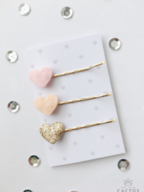 Tiny Little Cactus - Hair Clips Hearts Pink/Peach/Gold