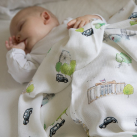 The Little Art Collection - Large Bamboo Swaddle Print: London