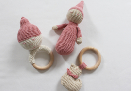 JA Baby Design - Handmade Crochet Set 3 Personalized Items - Pink