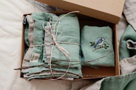 La Petite Alice - Handmade Linen Bedding Set Mint/Grey