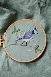 La Petite Alice - Handmade Linen Pouch With Embroidery Mint/Bird