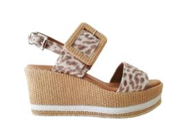 Raffia sleehak sandaal