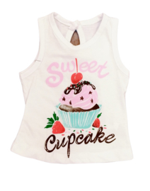 "Witte tanktop ""cupcake"""