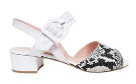 Sandaal in wit leer met pyton