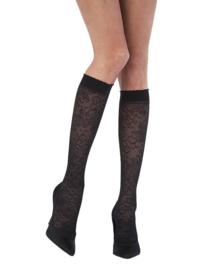 Zwarte panty kous met flower print (2 pack)