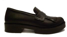 Zwart instap schoen met klep