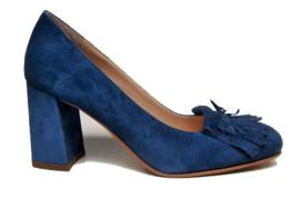 Jeansblauw suede pump
