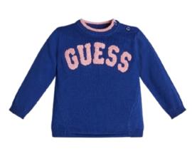 Blauwe trui logo in roze
