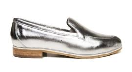 Zilver leren loafer