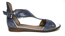 Jeans blauw leren sandaal