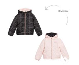 Zwart roze jas reversable