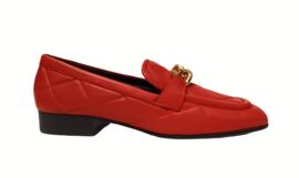 Rood doorgestikt loafer