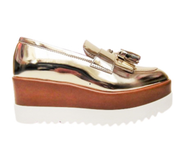 Goud pennyloafer plateau