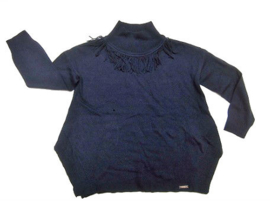 Blauwe poncho franje trui