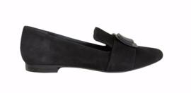 Zwart suede loafer gesp