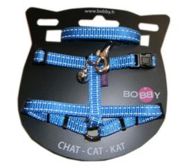 Kattenharnas met riem Safe Blauw