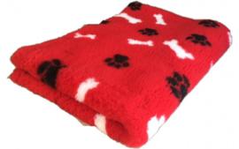 Vet bed - Rood zwarte pootjes witte botjes - latex anti-slip