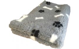 Vet bed - Grijs + zwarte pootjes witte botjes - latex anti-slip