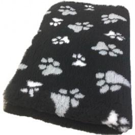 Vet Bed Zwart met grijze en witte voetprint Latex anti-slip
