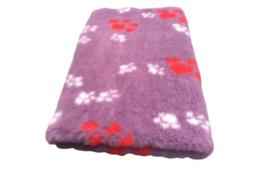 Vet Bed Lila met Rode en Witte voetprint Latex Anti Slip