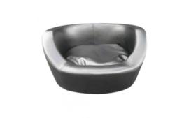 Hondenbank Leatherlook zwart + kussen 66x54x36cm