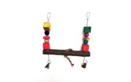 Papegaaienspeelgoed Kerby Touwschommel met blokken en bel