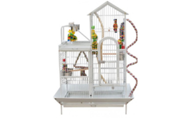 Papegaaienkooi TORINO WIT - 93 x 60 x 160 cm | 3 GRATIS papegaaienspeeltjes