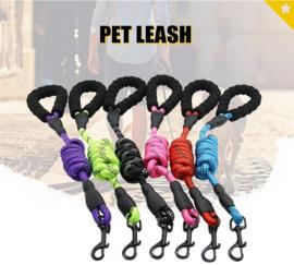 Reflecterende nylon hondenriem met comfortabel handvat