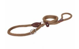 Looplijn nylon met strop + veiligheidsring 120cm | 12mm Bruin