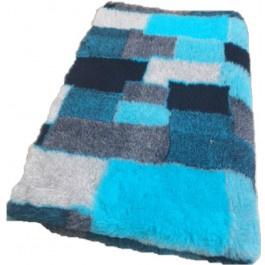 Vet Bed Patchwork Turquoise Zwart Blauw Grijs - latex anti-slip