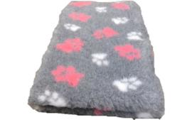 Vet Bed Grijs Roze Wit voetprint- latex anti-slip