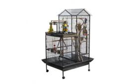 Papegaaienkooi TORINO Antraciet 93 x 60 x 160 cm | Gratis 3 papegaaienspeeltjes