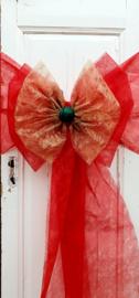 Kerststrik in rood en gouden FIBER