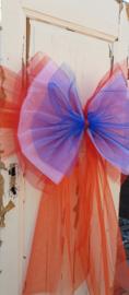 Strik in rood, wit, blauwe TULE met oranje TULE band
