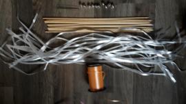 DIY Pakket  papieren lint in wit met tweede kleur naar keuze