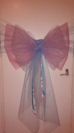 Gender reveal strik: in roze en blauw TULE