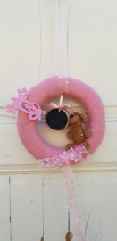Geboortekrans in roze