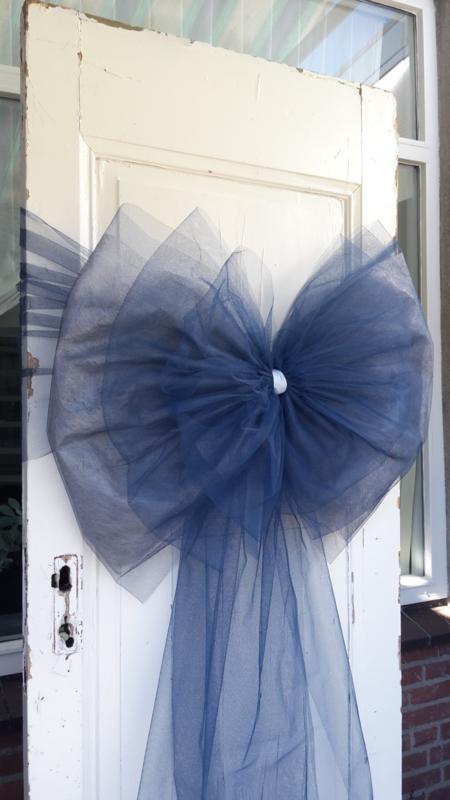 Marineblauwe deurstrik met grijs: TULE