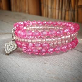 Memory wire armband roze