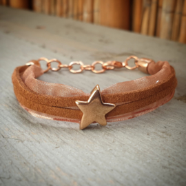 Stoffen armband bruin