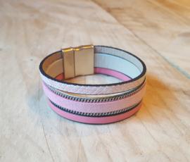 Roze leren armband 3 banden met magneet sluiting