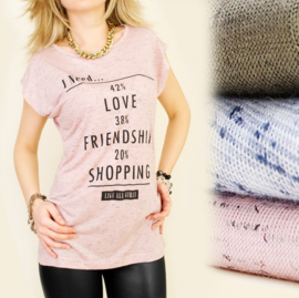 Trendy t-shirt I need love, friendship and shopping.