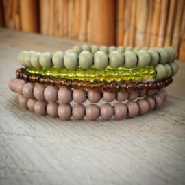 Memory wire armband groen/bruin